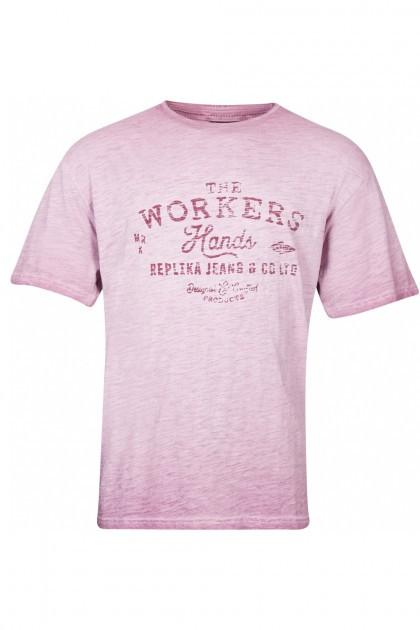 Replika Jeans T-Shirt - Print Zwart