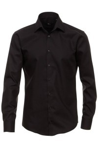 Venti slim fit tall shirt black