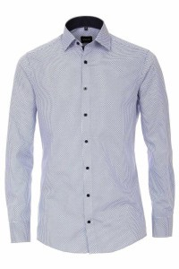 Venti Modern Fit Shirt - Pattern White/Blue