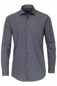 Venti Modern Fit Shirt - Blue/beige print
