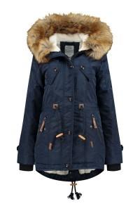 Brigg Winter Coat - Fur trim navy