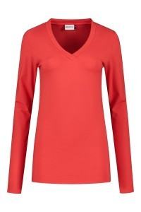 Highleytall - V-hals shirt lange mouw rood