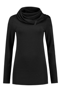 Only M - Sweater with scarf black