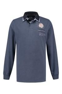 Kitaro Long Sleeve Polo-shirt - Blue Melange