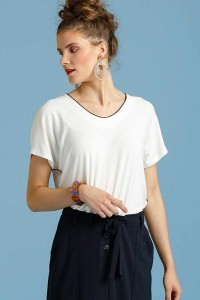 Only M - Loose top with piping white