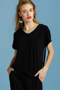 Only M - Loose top with piping navy