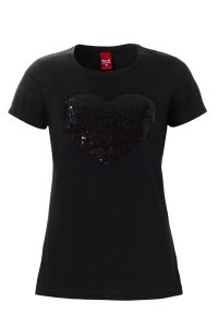 Only M - Heart Sequin T-Shirt Nero