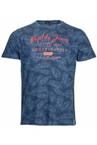 Replika Jeans T-shirt - Dark Blue Printed