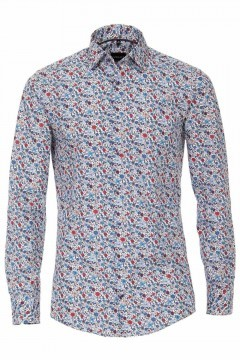 Venti Modern Fit Shirt - Blue/Red Floral