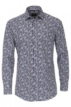 Venti Modern Fit Shirt - Dark Blue Dots