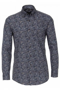 Venti Modern Fit Shirt - Dark Blue Paisley