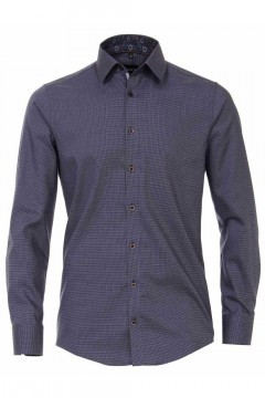 Venti Modern Fit Shirt - Dark Blue Pattern