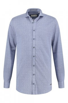 Blue Crane slim fit shirt - Blue melange