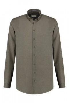 Blue Crane slim fit shirt - Linen dark green