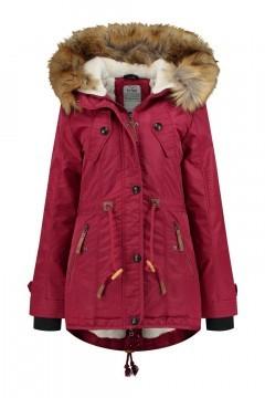 Brigg Winter Coat - Fur Trim Red