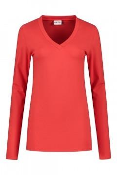 Highleytall - V-neck longsleeve shirt red