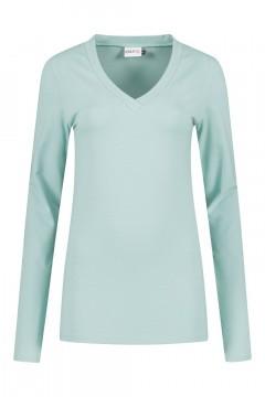 Highleytall - V-neck longsleeve shirt grey-blue
