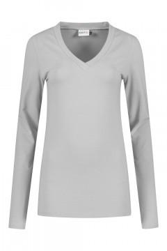Highleytall - V-neck longsleeve shirt grey