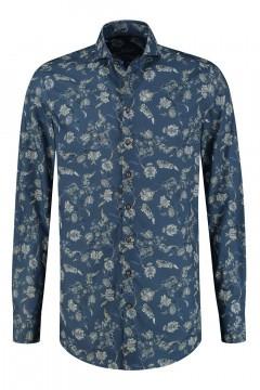 Ledûb Modern Fit Shirt - Blue Floral