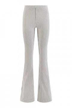 Madame Liz - Leggings Flared Stripe Linen/Grey-Blue