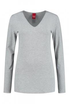 Only M - Basic V-neck top grey melange