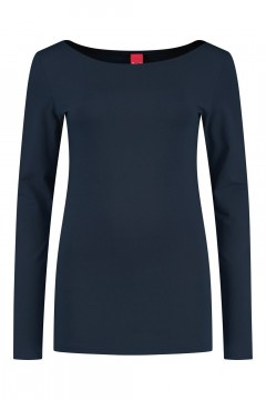 Only M - Basic boatneck top navy