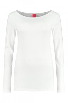 Only M - Basic boatneck top offwhite