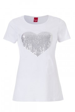 Only M - Heart Sequin T-Shirt White