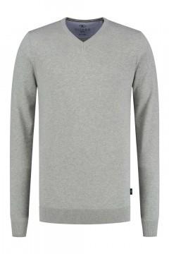 Kitaro Sweater - Basic V-Neck Silver grey