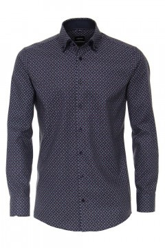Venti Modern Fit Shirt - Dark Blue Print