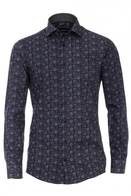 Venti Modern Fit Shirt - Navy/white print