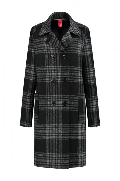 Only M - Winter Coat Black Tartan