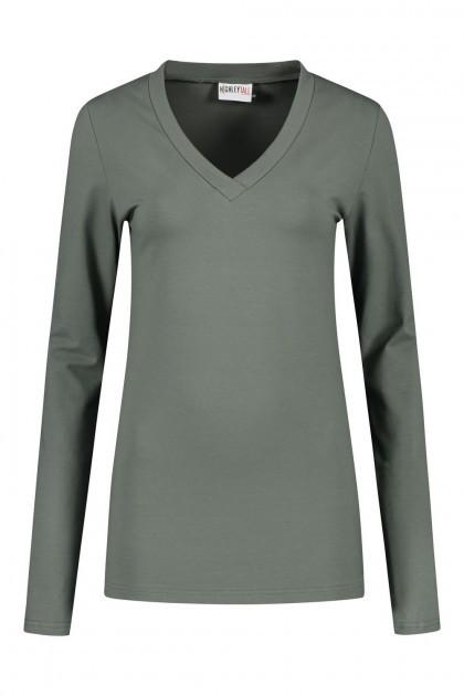 Highleytall - V-neck longsleeve shirt khaki