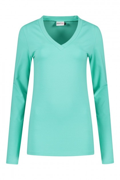 Highleytall - V-neck longsleeve shirt sea green