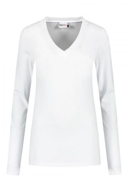 Highleytall - V-neck longsleeve shirt white