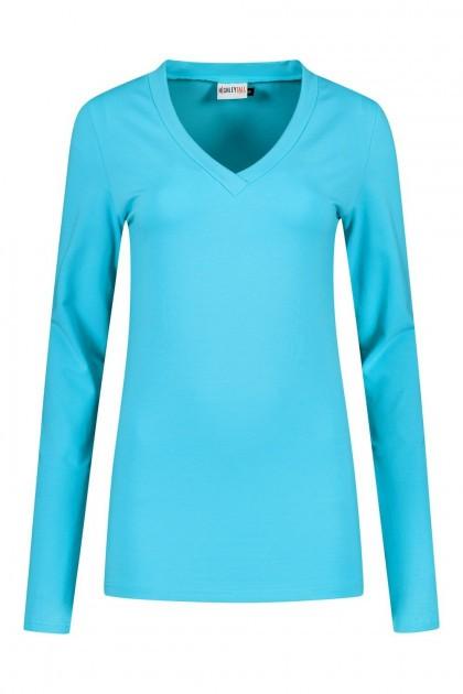 Highleytall - V-neck longsleeve shirt turquoise