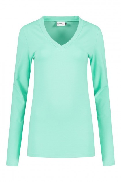 Highleytall - V-neck longsleeve shirt mint green