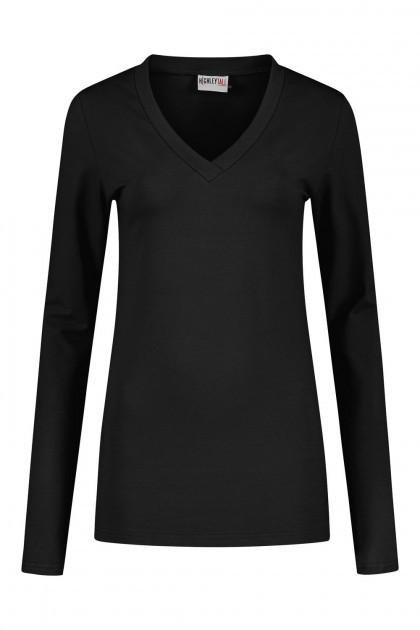 Highleytall - V-neck longsleeve shirt black