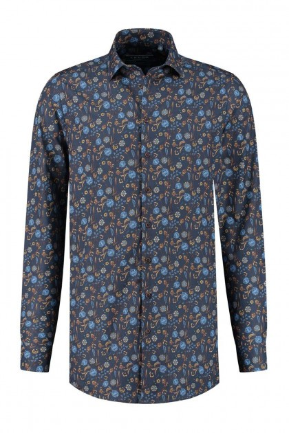 Ledûb Modern Fit Shirt - Navy Print