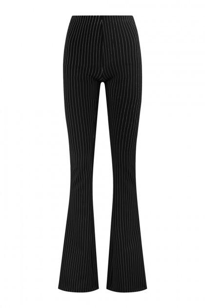 Madame Liz - Leggings Flared Pinstripe Black