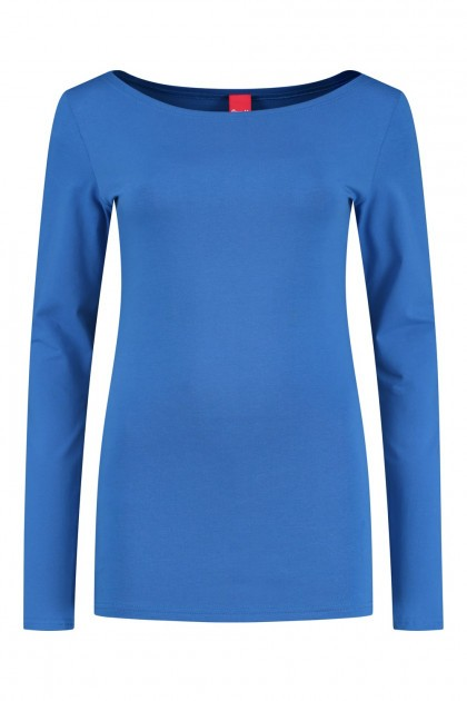 Only M - Basic boatneck top blue