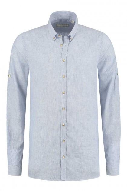 Blue Crane slim fit shirt - Linen blue striped