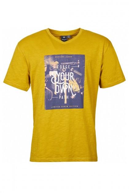 Replika Jeans v-neck T-Shirt - Forge Mustard