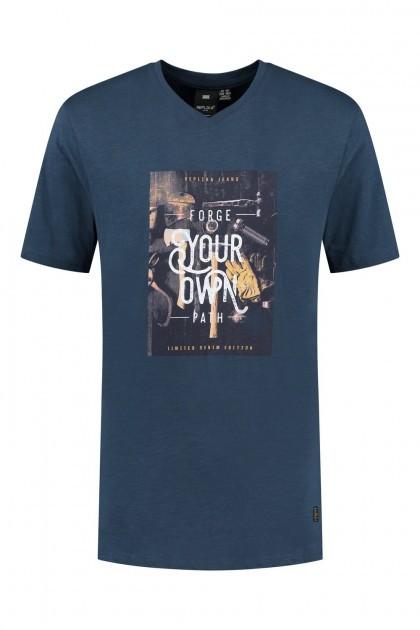 Replika Jeans v-neck T-Shirt - Forge Navy