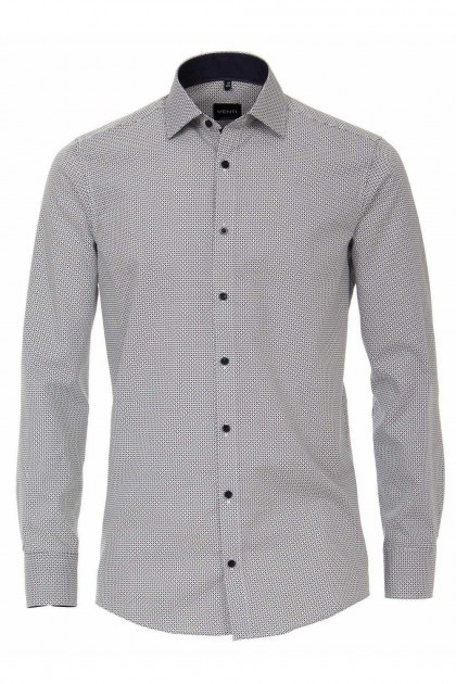 Venti Modern Fit Shirt - Pattern White/Grey