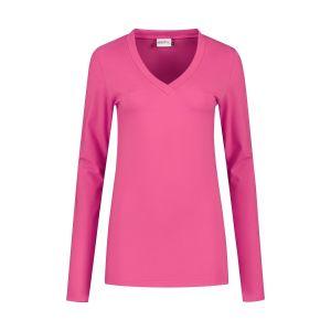Highleytall - V-neck longsleeve shirt hot pink