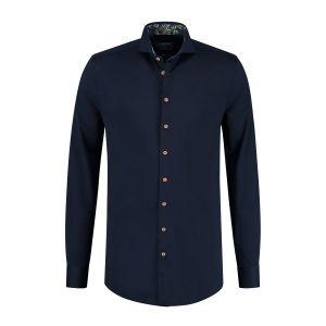 Ledûb Modern Fit Shirt - Navy Structure