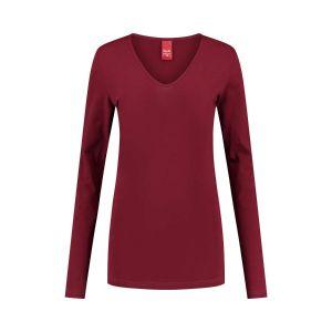 Only M - Basic V-neck top dark red