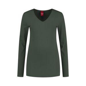Only M - Basic V-neck top khaki