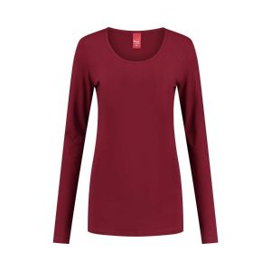 Only M - Basic O-neck top dark red